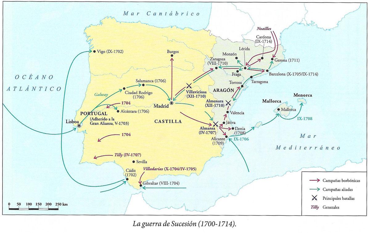 Mapa de la Guerra de Sucesión Española del libro Breve Historia de España de Fernando García de Cortazar y J. Manuel González Vesga